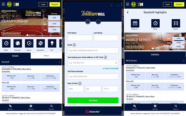 William Hill Mobile Device