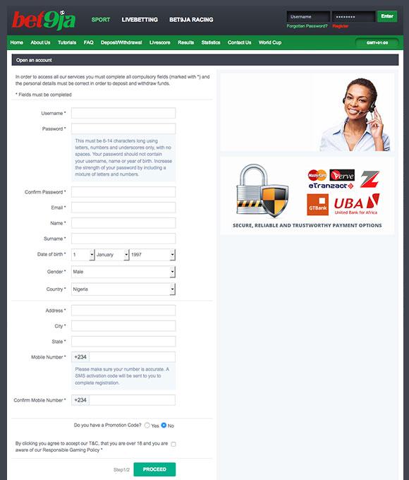 bet9ja registration in Nigeria