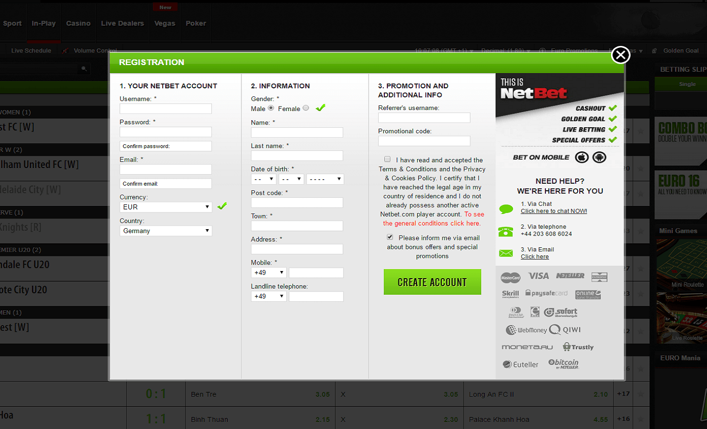 Netbet sign up