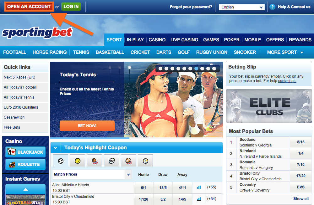 Sportingbet registration