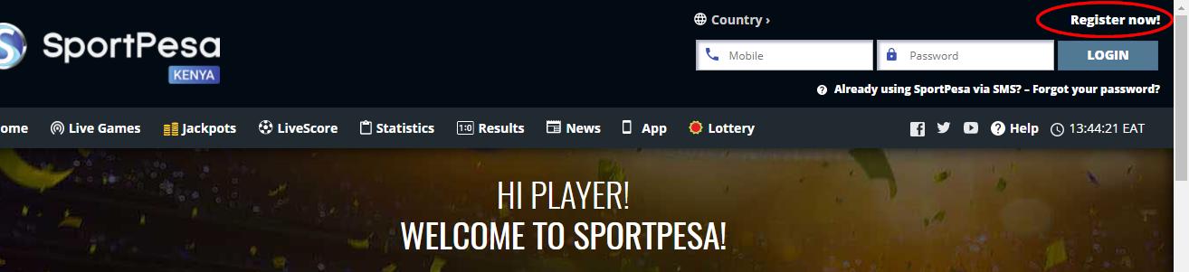Sportpesa registration